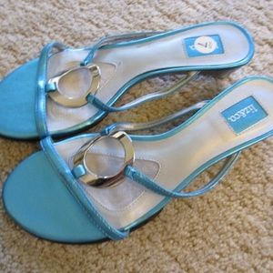 Blue and Silver Liz & Co Low Heal Sandals Size 7